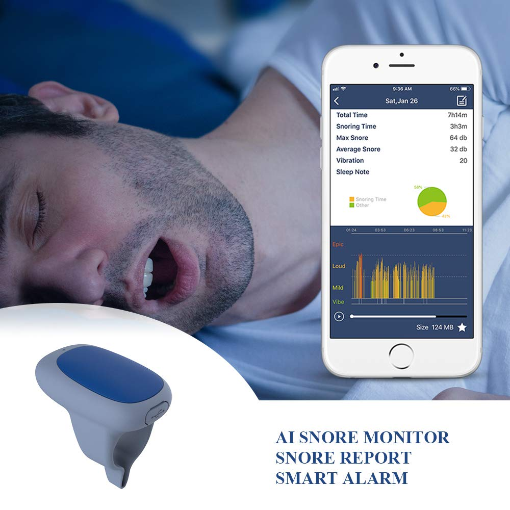 Viatom SleepZ AI Snore Stopper, Smart Anti Snoring Device with Silent Vibration Alert, Free APP with Snoring Report - Monitor Effectiveness and Performance of Your Snoring Stopper