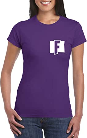 Purple Female Gildan Short Sleeve T-Shirt - Fortnite – Chest and back design