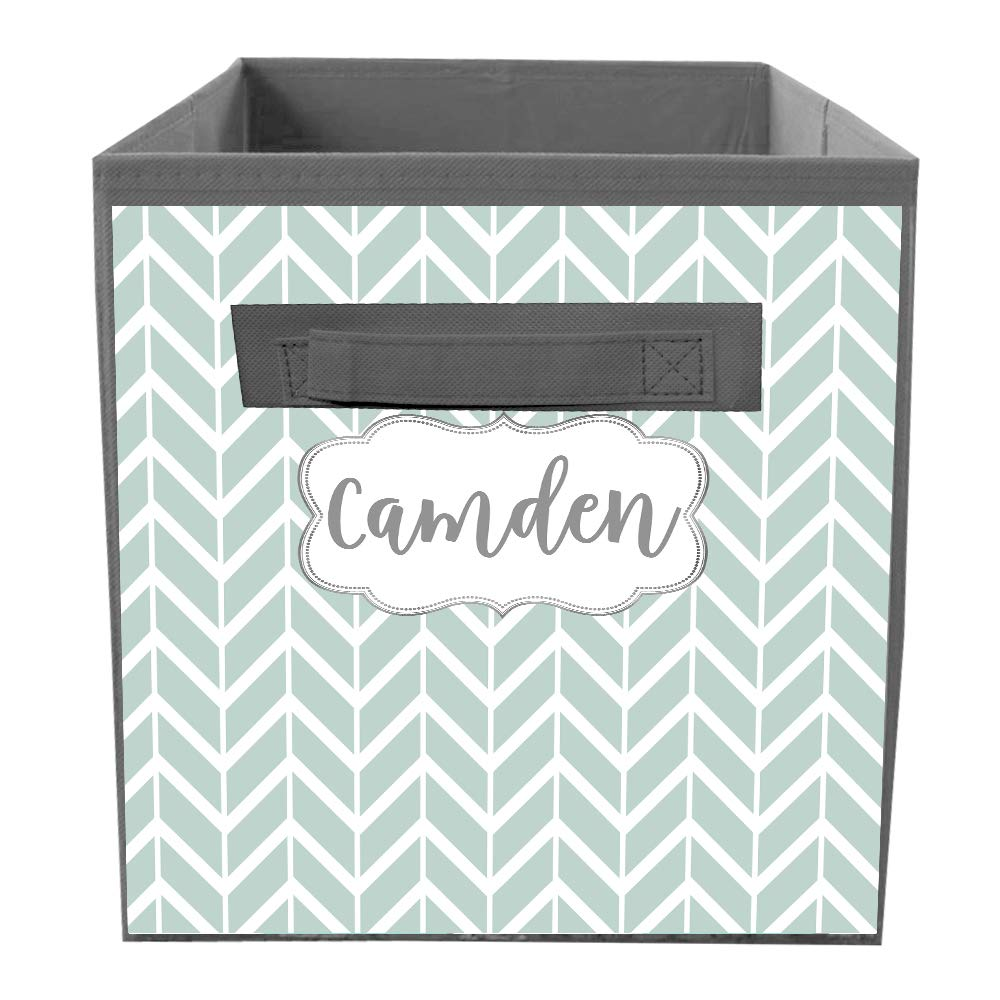Amazon com: Cyan and Grey Pattern Fabric Bin Kid's
