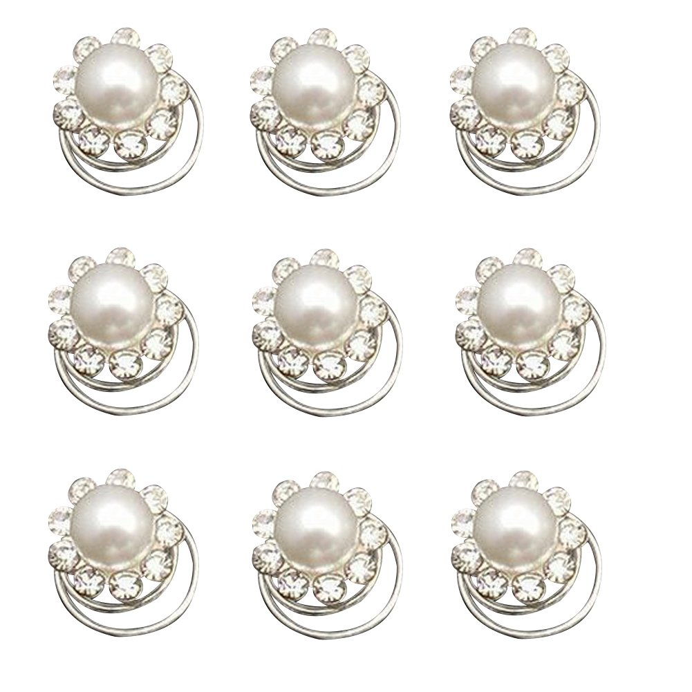Zaki L'vow Wedding Bridal Crystal Pearl Flower Swirl Twist Hair Clips Pack of 12