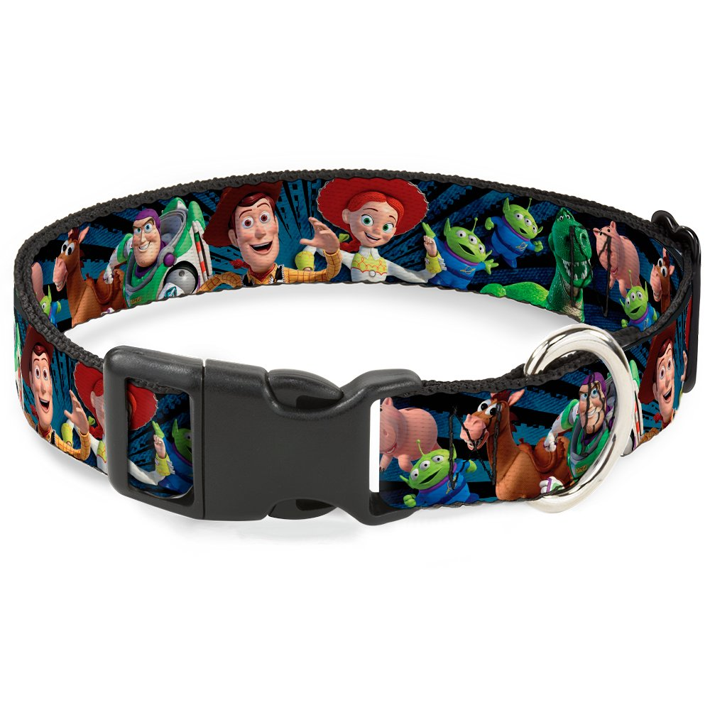 Buckle-Down Plastic Clip Collar - Toy Story Characters Running2 Denim Rays - 1/2'' Wide - Fits 9-15'' Neck - Large