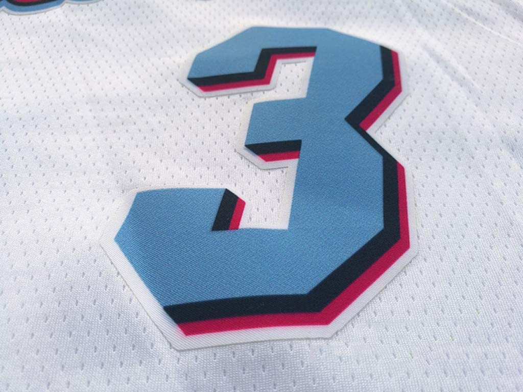 Oquta Camiseta de Baloncesto Dwyane Wade Miami Heat # 3 edici/ón de Ciudad Blanco
