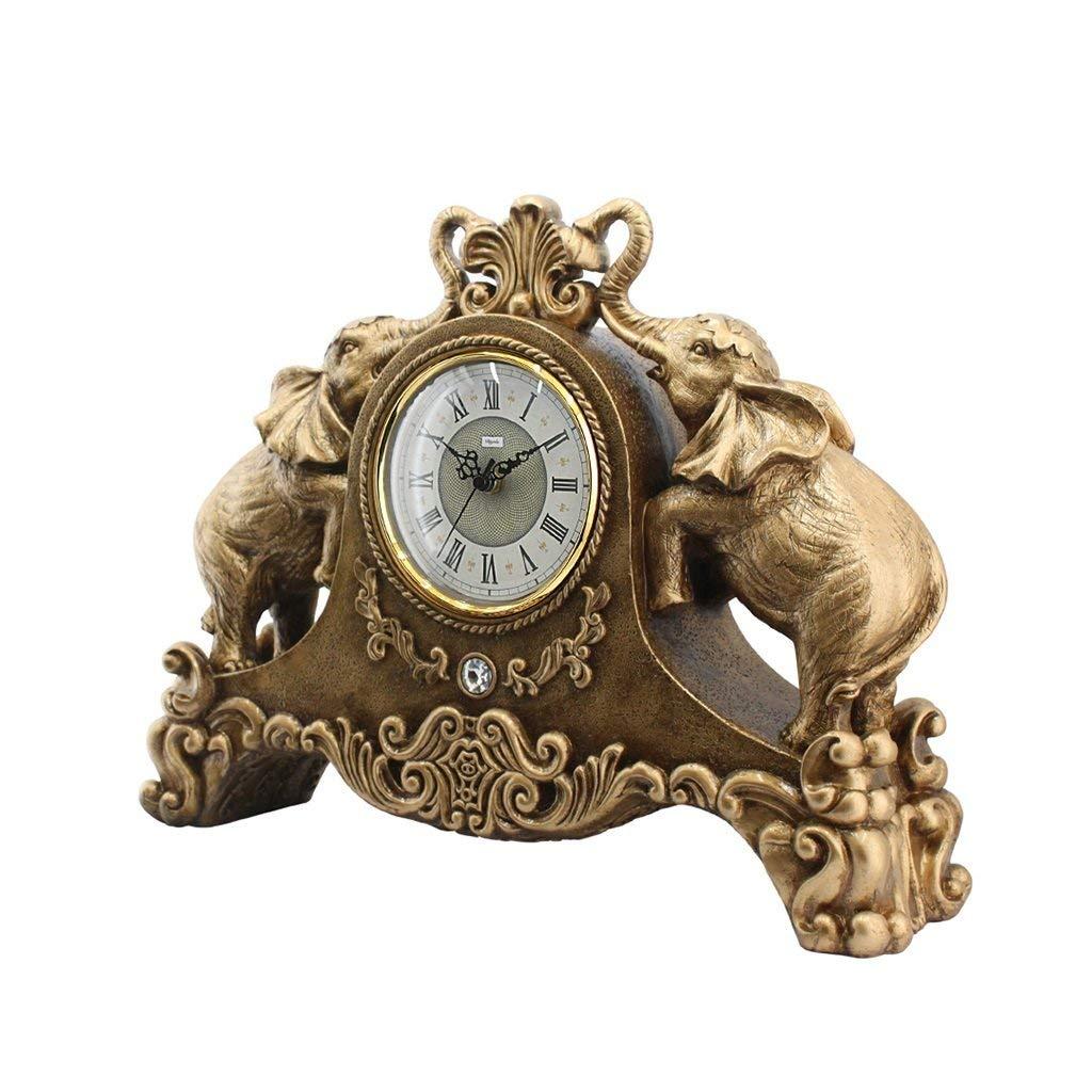 デスククロックファミリークロックヨーロッパの創造的な象の置時計リビングルームのための刻々と過ぎないサイレント樹脂の机の装飾的なクロック B07THHC9XG Gold