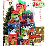JOYIN 36 Pcs Christmas Bags Set with Wrapping Papers and Tissue Paper Decoration, Wrapping, School Classrooms, Party Favors