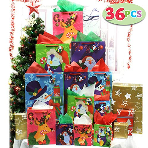 JOYIN 36 Pcs Christmas Bags Set with Wrapping Papers and Tissue Paper Decoration Wrapping School Classrooms Party Favors