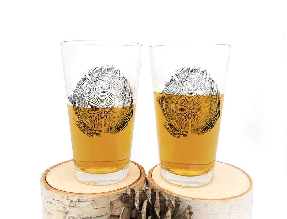 Pint Glasses Tree Ring Print Set of Two Screen Printed Pint Glasses