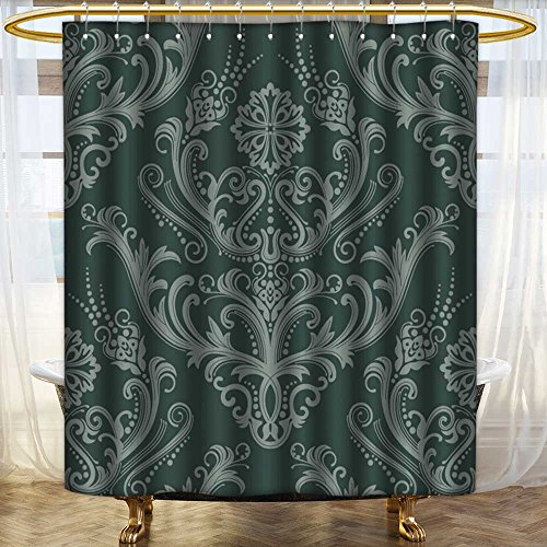 - Lijiaohome Hotel Quality Mold Resistant Fabric Shower Curtain Luxury green floral damask wallpaper Mildew Free Waterproof/W72 x L92