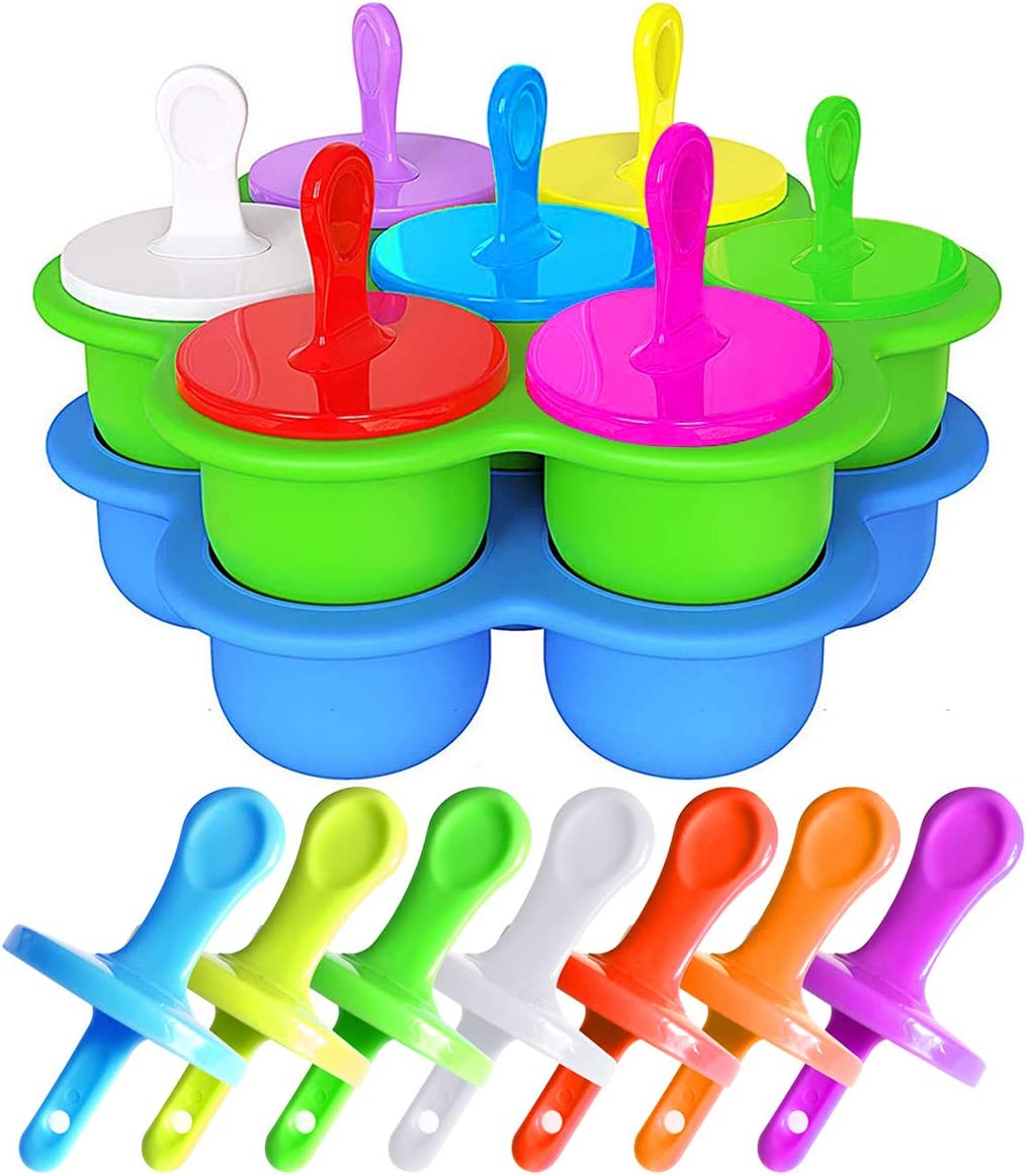 2-Pack Ice Pop Molds for Kids, Mini Silicone Popsicle Mold with Colorful Plastic Sticks, Popsicle Makers for Egg Bites, Lollipop and Ice Cream Mould, Baby Food Storage Container