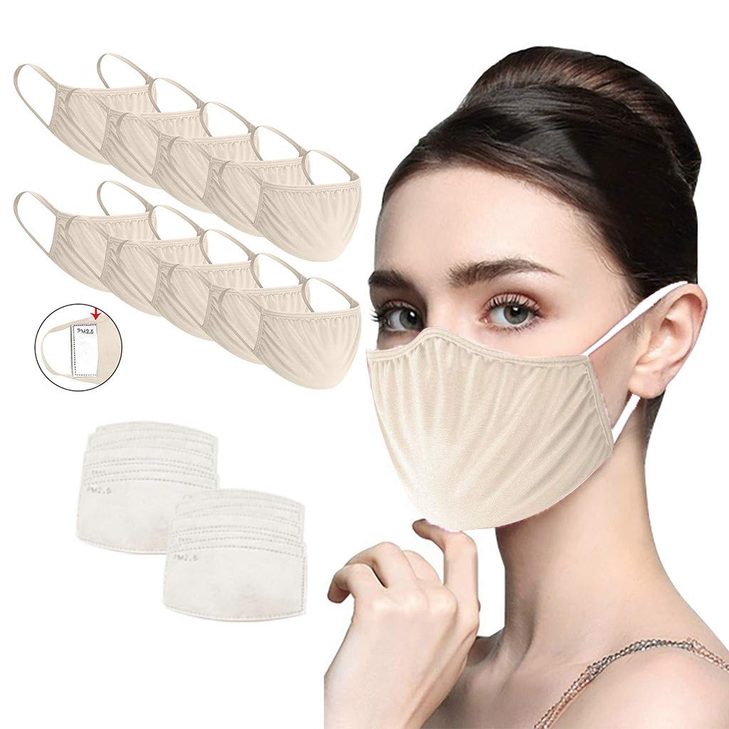 10 Pack Adult Reusable with 20PCS Filters Solid Color Cloth Lightweight Breathable Face Bandanas