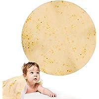 "EKKONG Burritos Wrap Blanket, 2019 Upgraded Version Flannel Blanket, Fashionable, Super Soft & Creative Tortilla Towel, Perfectly Round Tortilla Throw(59"" Diameter)"