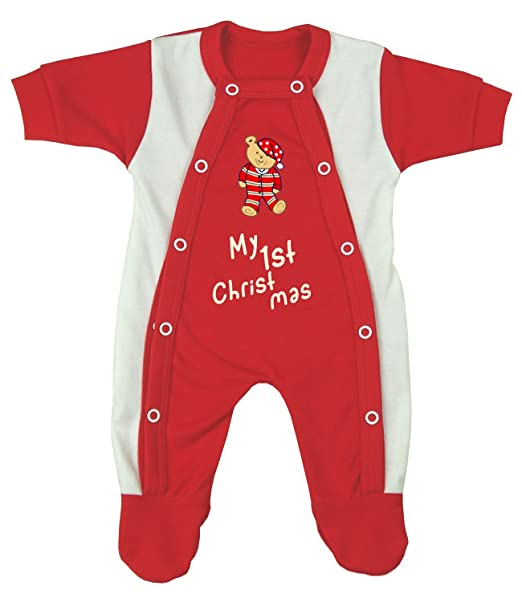 Babyprem - Pelele para dormir - Manga Larga - para bebé niño rojo My 1st Christmas