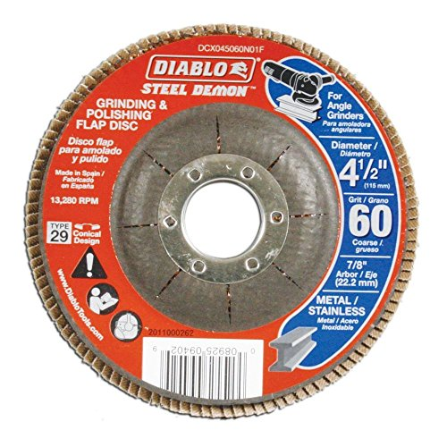 Diablo 4-1/2 in. 60-Grit Steel Demon Grinding and Polishing Flap Disc with Type 29 Conical Design (5-Pack) (Diablo Steel Demon Grinding And Polishing Flap Disc)