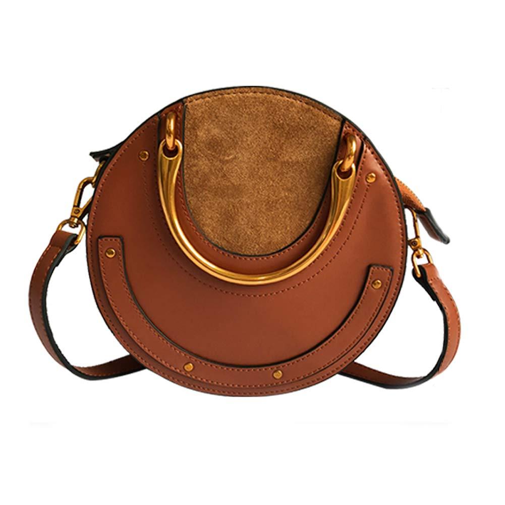 Yoome Elegant Rivet Bag Punk Purse Circular Ring Handle Handbags Cowhide Crossbody Bags For Women (Brown) by Yoome