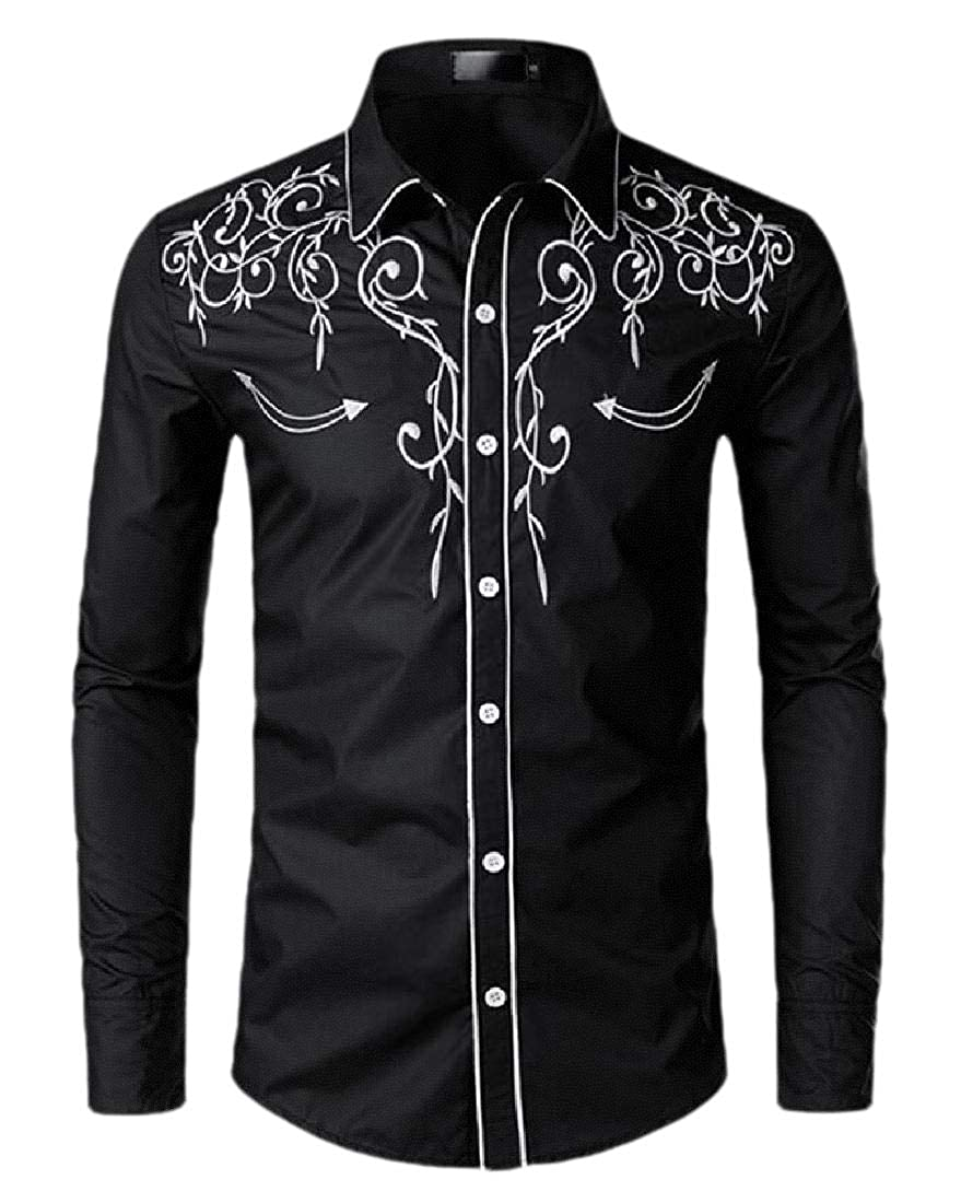 Beloved Mens Basic Long Sleeve Button Down Embroidered Shirt Casual Shirts