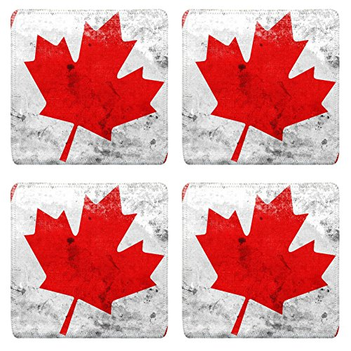 Luxlady Square Coasters Non-Slip Natural Rubber Desk Coasters IMAGE ID 31045060 Canada Flag with a vintage and old - Flag Canada Coaster