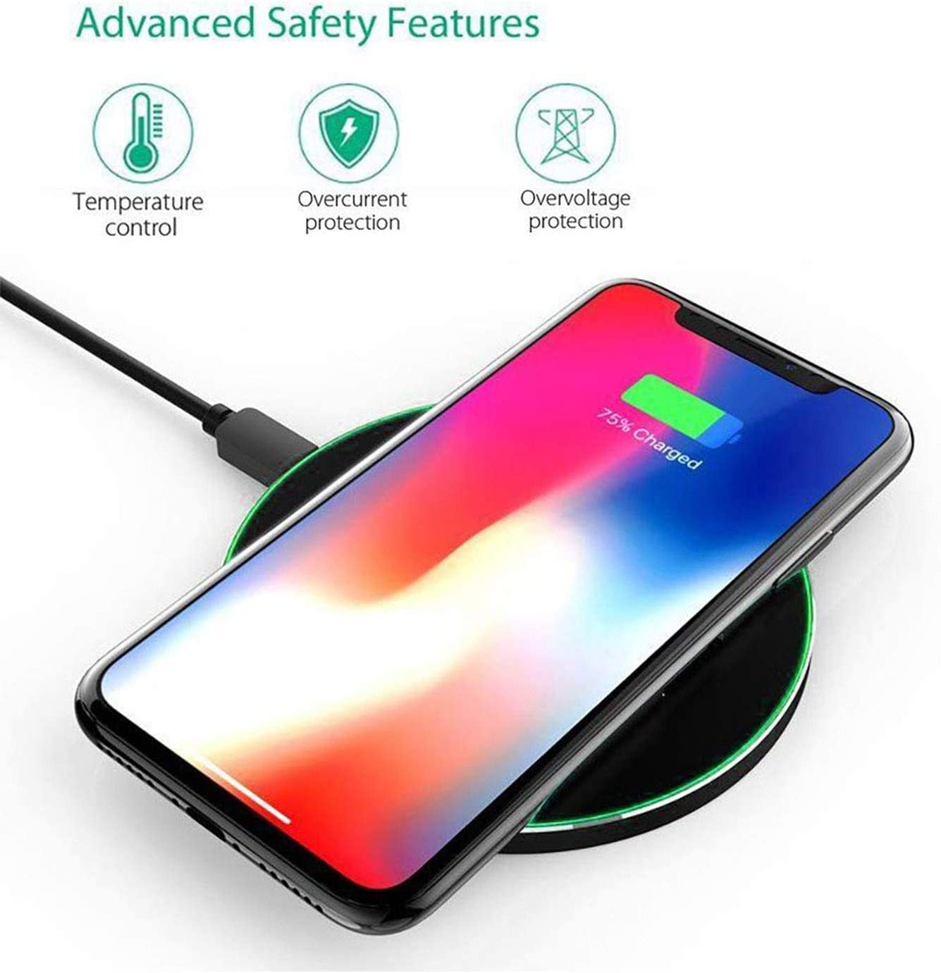 Qi Fast Wireless Charger Pad with 15W for LG G8 V40 V30 Mayround 15W Wireless Charger 7.5W for iPhone 11 11 pro max XS Max XR 8 and 10W for Samsung Note 10 9 S10 S9 Google Pixel 3 Black No Adapter