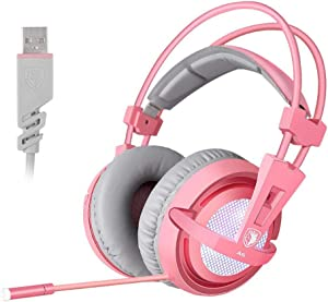 SUPSOO 7.1 Stereo Gaming Headset, Noise Cancelling Over Ear Gaming Headphones with Mic & White LED Light, Bass Surround, Comfortable Memory Foam Ear Pads for Laptop PC - Pink