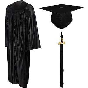3632229fb35 GraduationMall Shiny Graduation Gown Cap Tassel Set 2019 for High School