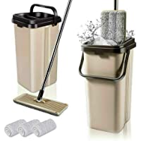 BOOMJOY F11 Microfiber Flat Mop with Bucket, Cleaning Squeeze Hand Free Floor Mop, Stainless Steel Handle with 3…