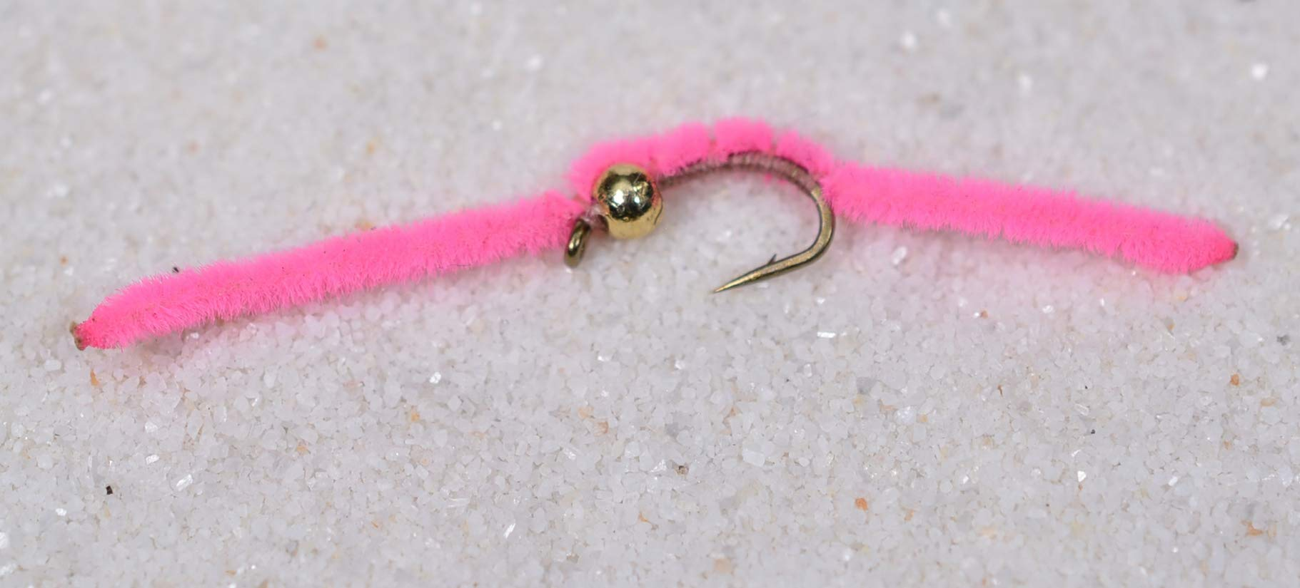 Tungsten Bead Head San Juan Worm Fishing Flies - 1 Dozen on Mustad Signature Fly Hook Size 14 - Pink by Region Fishing
