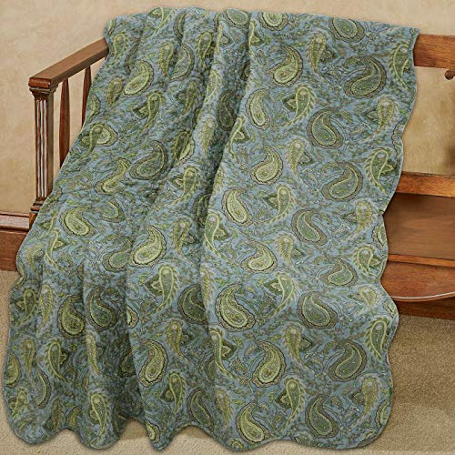 Cozy Line Home Fashions Green Paisley Reversible 100% Cotton Quilted Throw Blanket 60