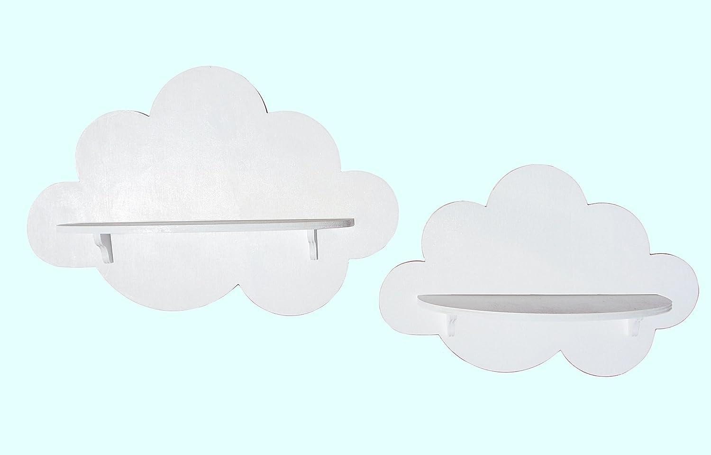 coppia mensoline di legno a forma di nuvole (azzurro) cooperativa Altea