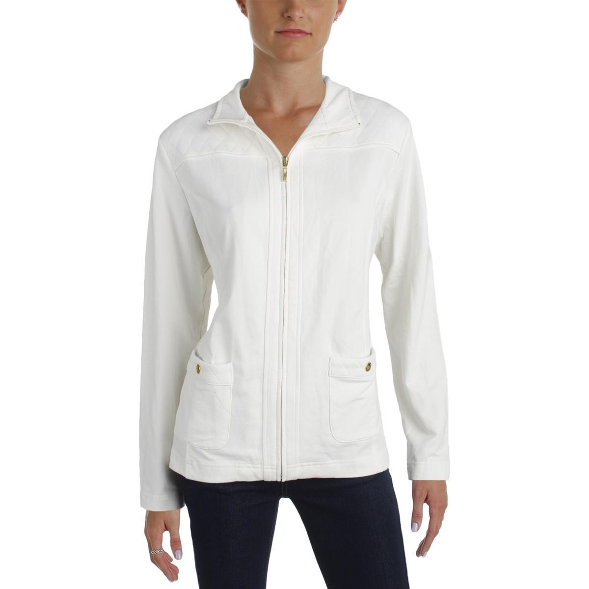 Karen Scott Womens Quilted Zip-Front Fleece Jacket 27012-155