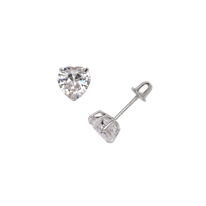 Jewelryweb MDESW21 4-6mm 14k White Gold Heart-shaped Cubic Zirconia Screw-back Stud Earrings