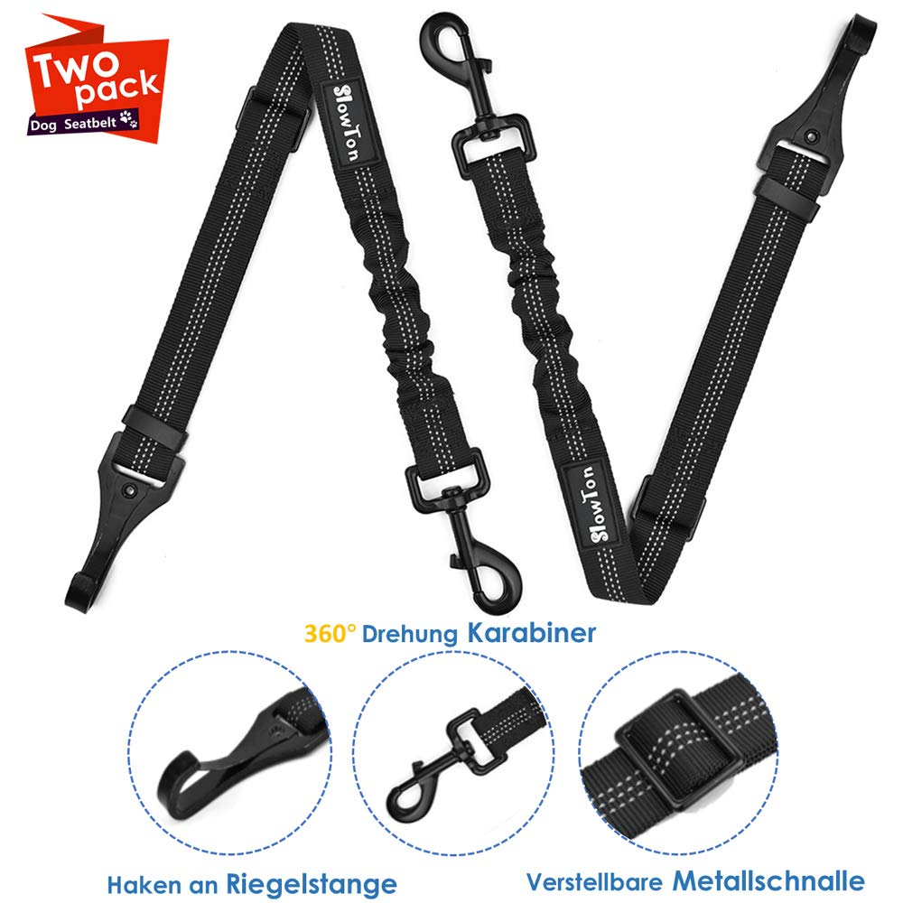 SlowTon Dog Car Seatbelt, Adjustable Pet Safety Leads Vehicle Seatbelt Harness with Durable Hook to Latch Bar Heavy Duty Hardware Metal Clip Dog Restraints Lead Keep Pet Safe in Car Travel with Pets