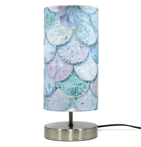 Mermaid Lamp Light Lampshade Glitter Fish Sea Shells Girls Bedroom Bedside Table  Desk Nursery Lamps Quotes