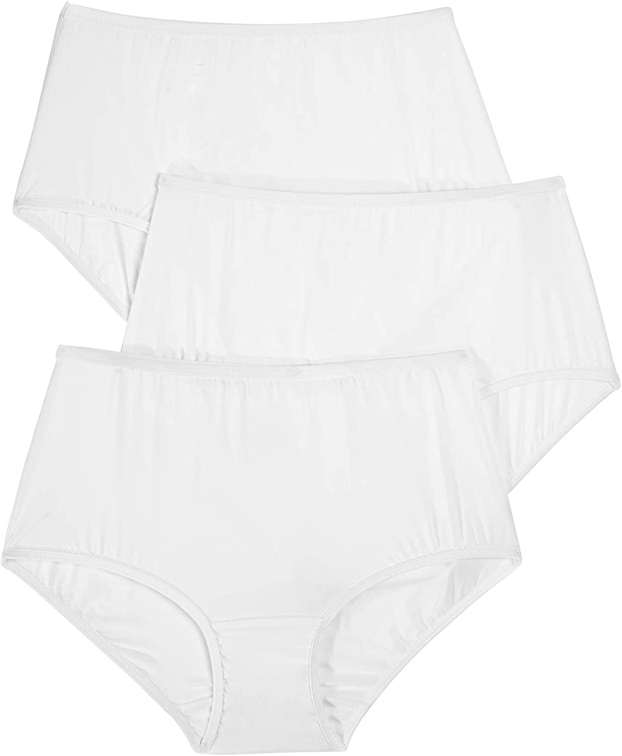 Comfort Choice Womens Plus Size 3-Pack Stretch Microfiber Full-Cut Brief