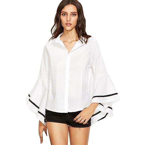 Mujer camisa de manga larga, Yannerr moda ocio loose franja de oficina de las señoras blusa tops