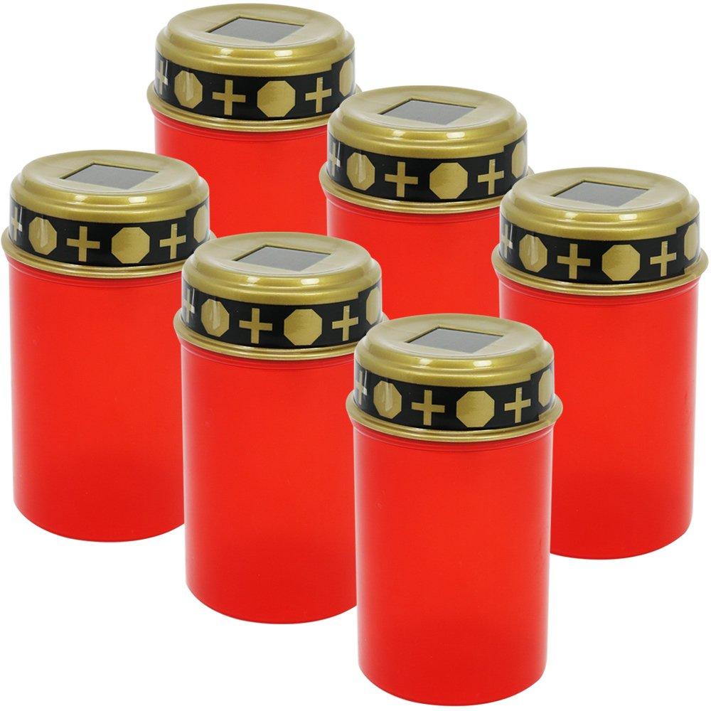com-four® 3X LED Grablicht Kerze Ewiges Licht in rot Solarbetrieben mit Dämmerungssensor (03 Stück - solarbetrieben)