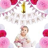 誕生日 飾りセット 1歳 バースデーデコレーションセット ペーパーフラワー フラッグガーランド バースデーパーティー 飾り付けセット 記念撮影用に ピンク