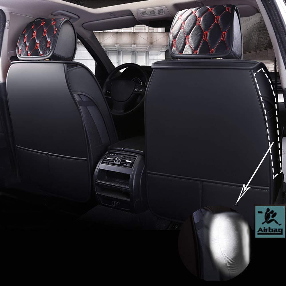 Chemu Set di coprisedili per Auto in Pelle Nera 13 Pezzi Impermeabile Adatto per la Maggior Parte delle Auto