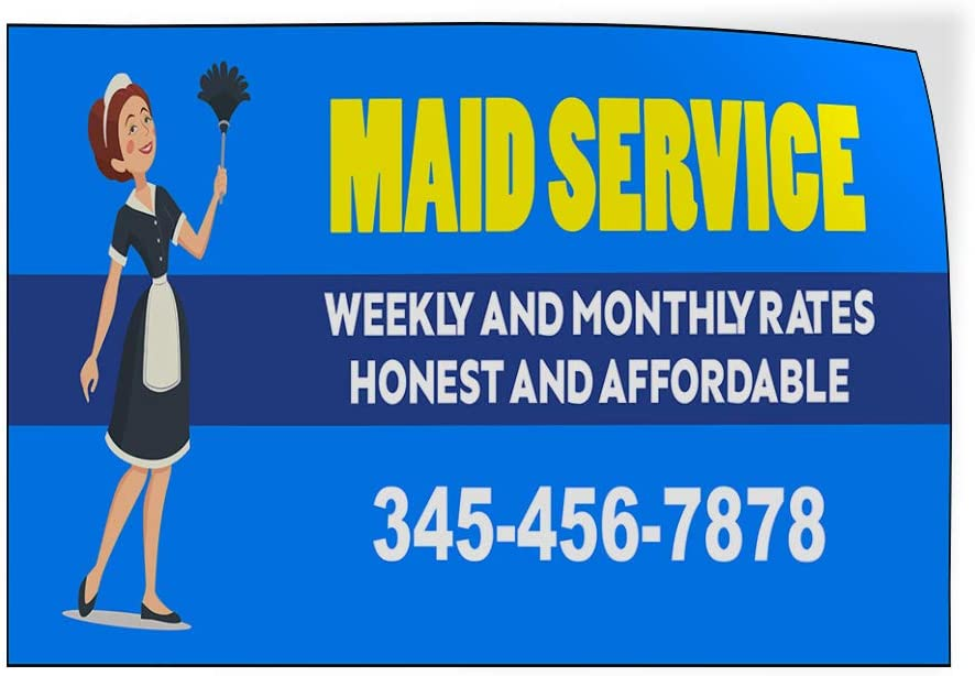 Custom Door Decals Vinyl Stickers Multiple Sizes Maid Service Phone Number Blue Business Maid Services Outdoor Luggage /& Bumper Stickers for Cars Blue 66X44Inches 1 Sticker