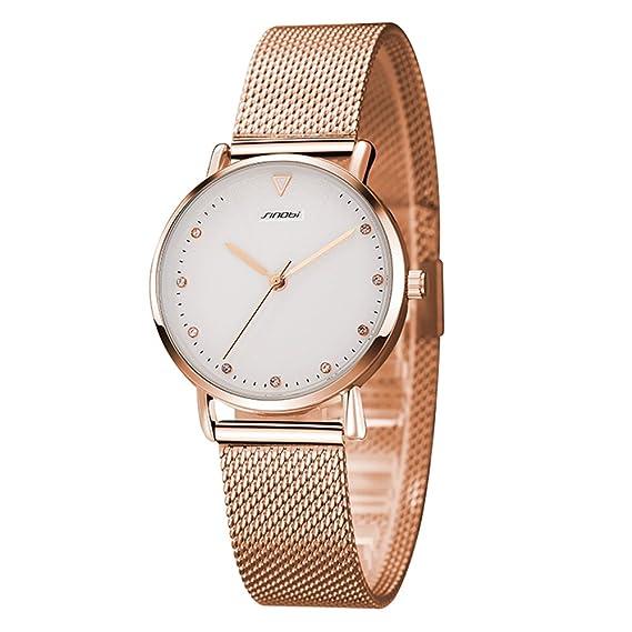 Mujer Bonito Cara blanca Cuarzo Reloj de Acero Inoxidable Oro Rosa: Amazon.es: Relojes