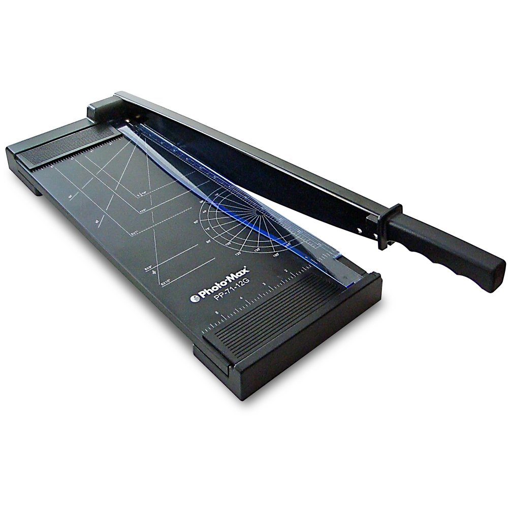 Photo-Max Economy Series Guillotine Paper Trimmer, 12 Inches, Black, Metal Base (PP-71-12G)