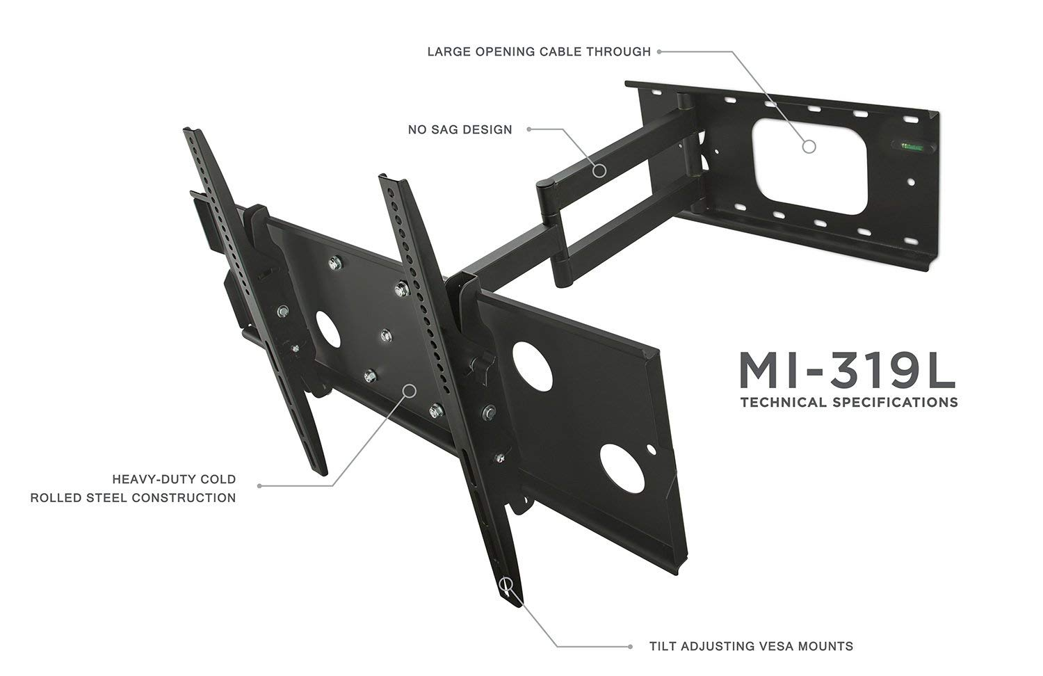 Mount-It! Long Arm TV Wall Mount With 26 Inch Extension, Swing Out Full Motion Design for Corner Installation, Fits 40 50, 55, 60, 65, 70 Inch Flat Screen TVs, 220 Pound Capacity by Everstone (Image #5)