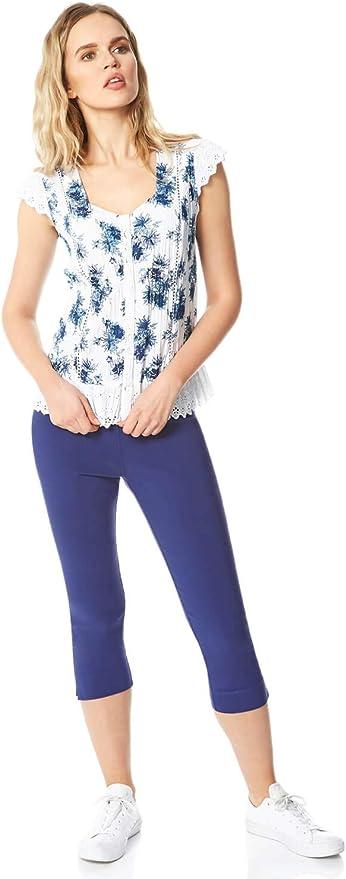 Women Roman Originals 100/% Cotton Strawberry Embroidered Crinkle Button Blouse