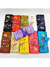 silk brocade jewelry roll your choice of color - Jewelry Roll