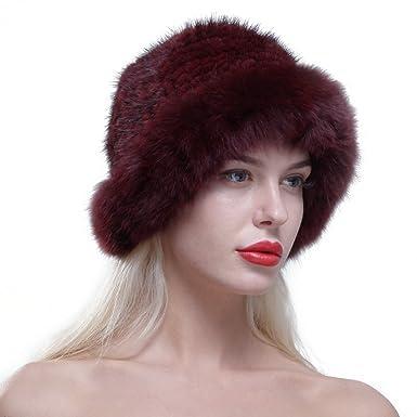 URSFUR Chapeau Cloche Fourrure Femme Bonnet Fourrure De Renard Tricot Hiver  Bordeaux  Amazon.fr  Vêtements et accessoires dcfabd2d1a3