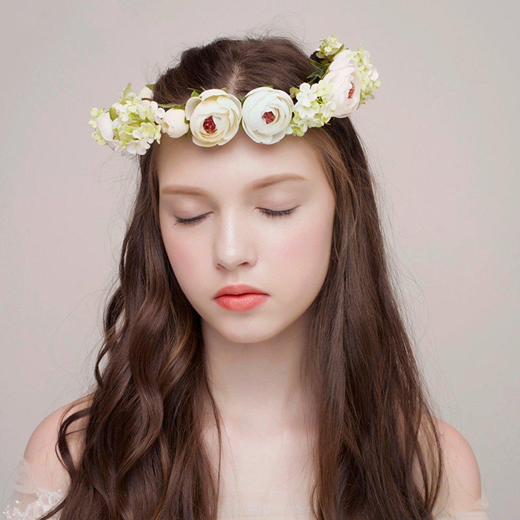 Wreath Flower, Headband Flower Garland Handmade Wedding Bride Party Ribbon Headband Wristband Hairband-Beige (Color : Beige)