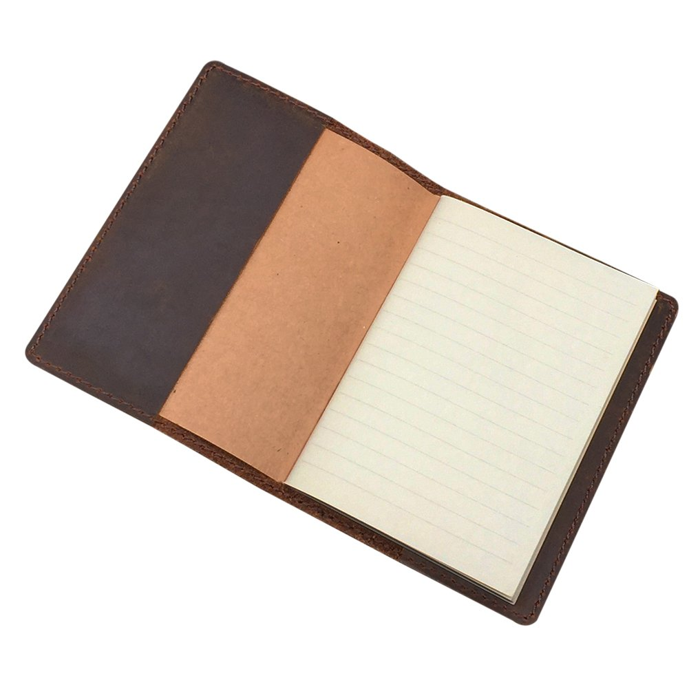 Genuine Leather Notebook, Passport Book 3.5 x 5 in Mini Composition Cover, 64 Pages Ruled, Pocket Size, Brown