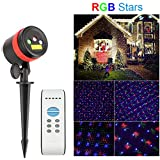 Christmas Lights Laser Projector – SurLight R G & B Laser Lights Star Show Waterproof Landscape Spotlights Decorative Lighting Outdoor Projectors with IR Remote Timer for Christmas House Garden Party