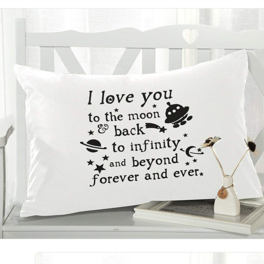 WECE Romantic Quotes I Love You To the Moon And Back Pillowcase Pillow Protector, Best Pillow Cover - 20x30 inches, One-sided Print