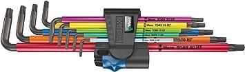 Wera 05024470001 967//9 TX XL Multicolour HF 1 Winkelschl/üsselsatz mit Haltefunktion lang 9-teilig