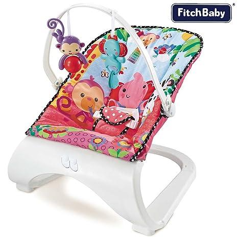 Balancín silla mecedora para bebé vibratoria Fitch Baby Asiento De Tela juguetes colgantes Musical