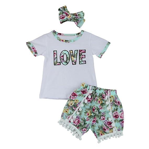 Conjuntos de ropa, Dragon868 2018 Tapas de cartas de verano + shorts florales para niñas