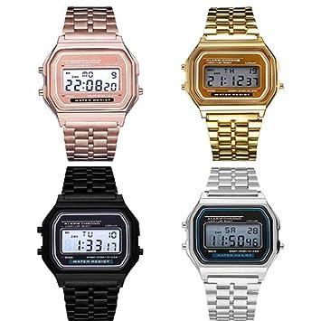 omdoxs Reloj Digital para Hombre de Cuarzo con Correa en Acero Inoxidable: Amazon.es: Hogar